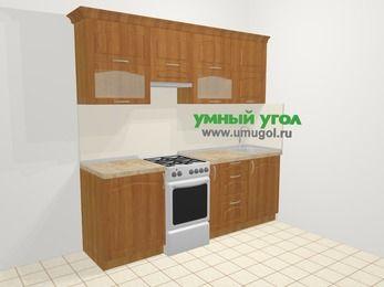 Прямая кухня МДФ матовый в классическом стиле 5,0 м², 2200 мм, Вишня, верхние модули 720 мм, отдельно стоящая плита