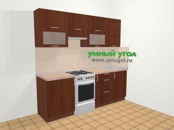 Прямая кухня МДФ матовый в классическом стиле 5,0 м², 220 см, Вишня темная, верхние модули 72 см, отдельно стоящая плита