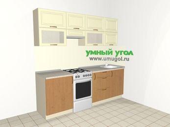 Прямая кухня из МДФ + ЛДСП 5,0 м², 2200 мм, Ваниль / Ольха, верхние модули 720 мм, отдельно стоящая плита