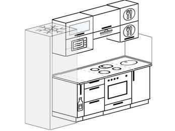 Прямая кухня 5,0 м² (2,2 м), верхние модули 720 мм, верхний витринный модуль под свч, встроенный духовой шкаф, холодильник