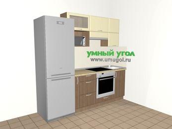 Прямая кухня МДФ матовый 5,0 м², 2200 мм, Ваниль / Лиственница бронзовая, верхние модули 720 мм, верхний модуль под свч, встроенный духовой шкаф, холодильник