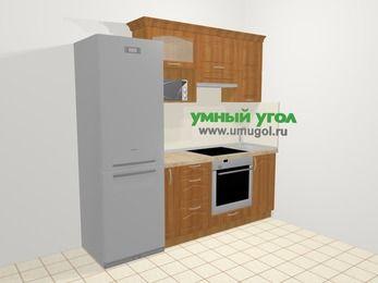 Прямая кухня МДФ матовый в классическом стиле 5,0 м², 220 см, Вишня, верхние модули 72 см, верхний модуль под свч, встроенный духовой шкаф, холодильник