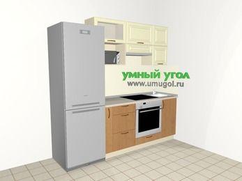 Прямая кухня из МДФ + ЛДСП 5,0 м², 2200 мм, Ваниль / Ольха, верхние модули 720 мм, верхний модуль под свч, встроенный духовой шкаф, холодильник
