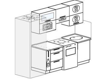 Прямая кухня 5,0 м² (2,2 м), верхние модули 720 мм, верхний витринный модуль под свч, холодильник, отдельно стоящая плита