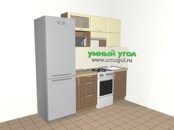 Прямая кухня МДФ матовый 5,0 м², 2200 мм, Ваниль / Лиственница бронзовая, верхние модули 720 мм, верхний модуль под свч, холодильник, отдельно стоящая плита