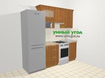 Прямая кухня МДФ матовый в классическом стиле 5,0 м², 220 см, Вишня, верхние модули 72 см, верхний модуль под свч, холодильник, отдельно стоящая плита