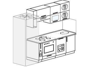 Планировка прямой кухни 5,0 м², 220 см: верхние модули 72 см, холодильник, корзина-бутылочница, встроенный духовой шкаф, посудомоечная машина