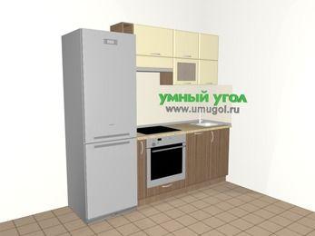 Прямая кухня МДФ матовый 5,0 м², 2200 мм, Ваниль / Лиственница бронзовая, верхние модули 720 мм, посудомоечная машина, встроенный духовой шкаф, холодильник