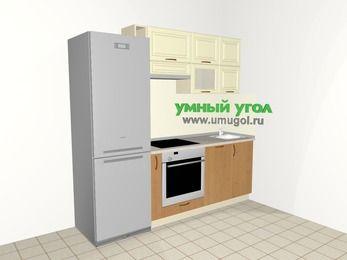 Прямая кухня из МДФ + ЛДСП 5,0 м², 2200 мм, Ваниль / Ольха, верхние модули 720 мм, посудомоечная машина, встроенный духовой шкаф, холодильник