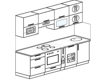 Прямая кухня 5,0 м² (2,2 м), верхние модули 720 мм, посудомоечная машина, верхний витринный модуль под свч, встроенный духовой шкаф