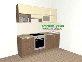Прямая кухня МДФ матовый 5,0 м², 2200 мм, Ваниль / Лиственница бронзовая, верхние модули 720 мм, посудомоечная машина, верхний витринный модуль под свч, встроенный духовой шкаф