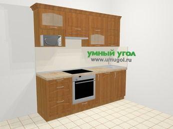 Прямая кухня МДФ матовый в классическом стиле 5,0 м², 2200 мм, Вишня, верхние модули 720 мм, посудомоечная машина, верхний модуль под свч, встроенный духовой шкаф