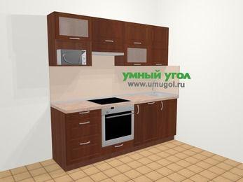 Прямая кухня МДФ матовый в классическом стиле 5,0 м², 220 см, Вишня темная, верхние модули 72 см, посудомоечная машина, верхний модуль под свч, встроенный духовой шкаф