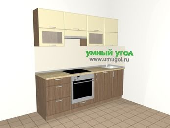 Прямая кухня МДФ матовый 5,0 м², 2200 мм, Ваниль / Лиственница бронзовая, верхние модули 720 мм, посудомоечная машина, встроенный духовой шкаф