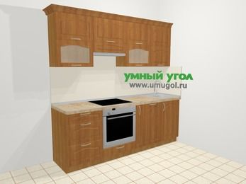 Прямая кухня МДФ матовый в классическом стиле 5,0 м², 2200 мм, Вишня, верхние модули 720 мм, посудомоечная машина, встроенный духовой шкаф