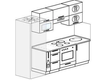 Прямая кухня 5,0 м² (2,2 м), верхние модули 720 мм, встроенный духовой шкаф, холодильник
