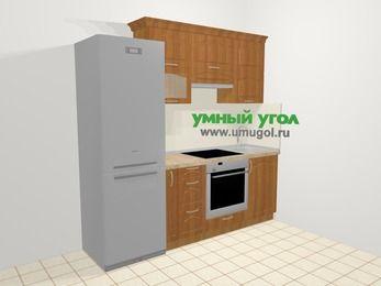 Прямая кухня МДФ матовый в классическом стиле 5,0 м², 2200 мм, Вишня, верхние модули 720 мм, встроенный духовой шкаф, холодильник
