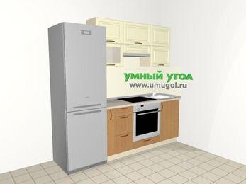 Прямая кухня из МДФ + ЛДСП 5,0 м², 2200 мм, Ваниль / Ольха, верхние модули 720 мм, встроенный духовой шкаф, холодильник