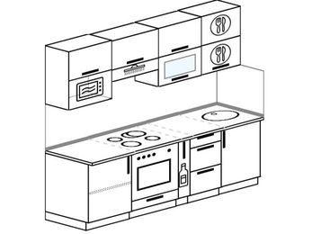 Планировка прямой кухни 5,0 м², 2200 мм: верхние модули 720 мм, встроенный духовой шкаф, корзина-бутылочница, верхний витринный модуль под свч
