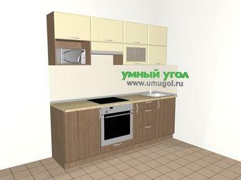 Прямая кухня МДФ матовый 5,0 м², 2200 мм, Ваниль / Лиственница бронзовая, верхние модули 720 мм, верхний витринный модуль под свч, встроенный духовой шкаф