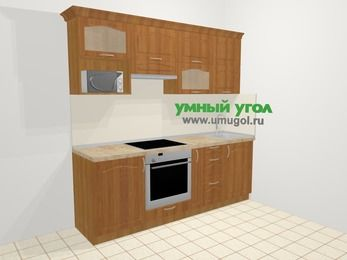 Прямая кухня МДФ матовый в классическом стиле 5,0 м², 2200 мм, Вишня, верхние модули 720 мм, верхний модуль под свч, встроенный духовой шкаф