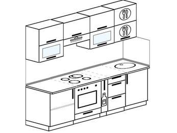 Прямая кухня 5,0 м² (2,2 м), верхние модули 720 мм, встроенный духовой шкаф