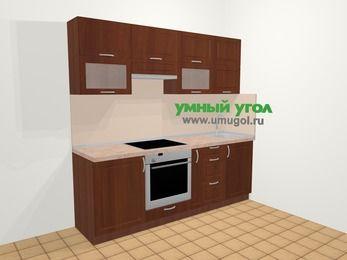 Прямая кухня МДФ матовый в классическом стиле 5,0 м², 220 см, Вишня темная, верхние модули 72 см, встроенный духовой шкаф