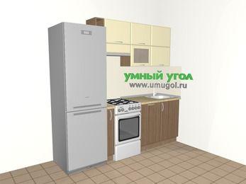 Прямая кухня МДФ матовый 5,0 м², 2200 мм, Ваниль / Лиственница бронзовая, верхние модули 720 мм, посудомоечная машина, холодильник, отдельно стоящая плита