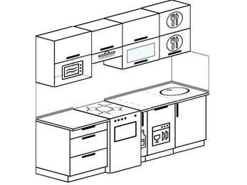 Прямая кухня 5,0 м² (2,2 м), верхние модули 720 мм, посудомоечная машина, верхний модуль под свч, отдельно стоящая плита