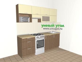 Прямая кухня МДФ матовый 5,0 м², 2200 мм, Ваниль / Лиственница бронзовая, верхние модули 720 мм, посудомоечная машина, верхний витринный модуль под свч, отдельно стоящая плита