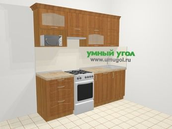 Прямая кухня МДФ матовый в классическом стиле 5,0 м², 2200 мм, Вишня, верхние модули 720 мм, посудомоечная машина, верхний модуль под свч, отдельно стоящая плита
