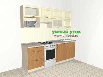 Прямая кухня из МДФ + ЛДСП 5,0 м², 2200 мм, Ваниль / Ольха, верхние модули 720 мм, посудомоечная машина, верхний витринный модуль под свч, отдельно стоящая плита