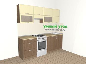 Прямая кухня МДФ матовый 5,0 м², 2200 мм, Ваниль / Лиственница бронзовая, верхние модули 720 мм, посудомоечная машина, отдельно стоящая плита
