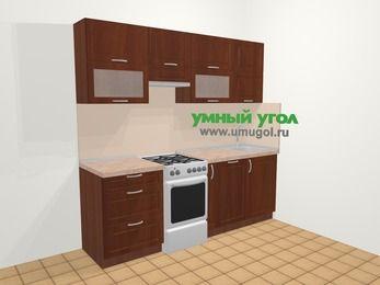 Прямая кухня МДФ матовый в классическом стиле 5,0 м², 220 см, Вишня темная, верхние модули 72 см, посудомоечная машина, отдельно стоящая плита