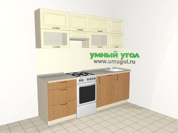 Прямая кухня из МДФ + ЛДСП 5,0 м², 2200 мм, Ваниль / Ольха, верхние модули 720 мм, посудомоечная машина, отдельно стоящая плита