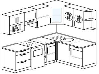 Угловая кухня 5,5 м² (2,2✕1,6 м), верхние модули 72 см, модуль под свч, отдельно стоящая плита
