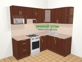 Угловая кухня МДФ матовый в классическом стиле 5,5 м², 220 на 160 см, Вишня темная, верхние модули 72 см, модуль под свч, отдельно стоящая плита