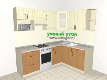 Угловая кухня из МДФ + ЛДСП 5,5 м², 2200 на 1600 мм, Ваниль / Ольха, верхние модули 720 мм, модуль под свч, отдельно стоящая плита