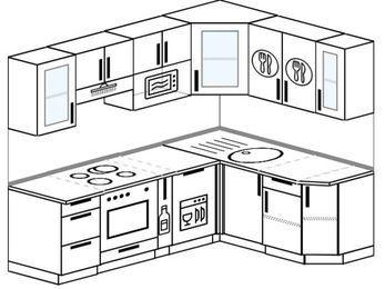 Угловая кухня 5,5 м² (2,2✕1,6 м), верхние модули 72 см, посудомоечная машина, модуль под свч, встроенный духовой шкаф