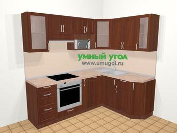 Угловая кухня МДФ матовый в классическом стиле 5,5 м², 220 на 160 см, Вишня темная, верхние модули 72 см, посудомоечная машина, модуль под свч, встроенный духовой шкаф