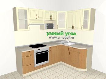 Угловая кухня из МДФ + ЛДСП 5,5 м², 2200 на 1600 мм, Ваниль / Ольха, верхние модули 720 мм, посудомоечная машина, модуль под свч, встроенный духовой шкаф
