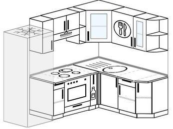 Угловая кухня 5,5 м² (2,2✕1,6 м), верхние модули 72 см, встроенный духовой шкаф, холодильник
