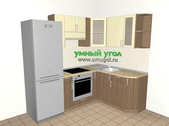 Угловая кухня МДФ матовый 5,5 м², 2200 на 1600 мм, Ваниль / Лиственница бронзовая, верхние модули 720 мм, встроенный духовой шкаф, холодильник