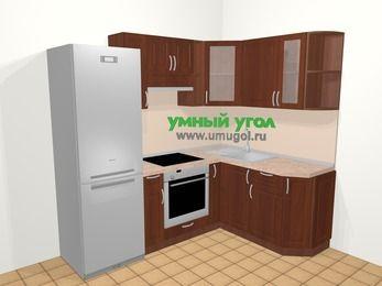 Угловая кухня МДФ матовый в классическом стиле 5,5 м², 220 на 160 см, Вишня темная, верхние модули 72 см, встроенный духовой шкаф, холодильник