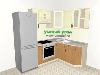Угловая кухня из МДФ + ЛДСП 5,5 м², 2200 на 1600 мм, Ваниль / Ольха, верхние модули 720 мм, встроенный духовой шкаф, холодильник