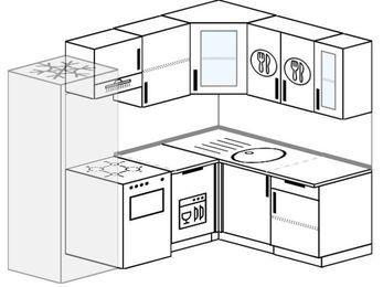 Угловая кухня 5,5 м² (2,2✕1,6 м), верхние модули 720 мм, посудомоечная машина, холодильник, отдельно стоящая плита