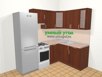 Угловая кухня МДФ матовый в классическом стиле 5,5 м², 220 на 160 см, Вишня темная, верхние модули 72 см, посудомоечная машина, холодильник, отдельно стоящая плита