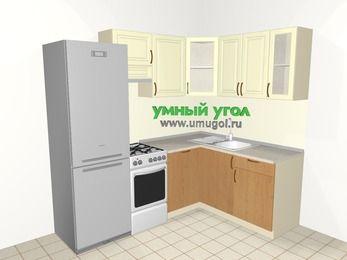 Угловая кухня из МДФ + ЛДСП 5,5 м², 2200 на 1600 мм, Ваниль / Ольха, верхние модули 720 мм, посудомоечная машина, холодильник, отдельно стоящая плита