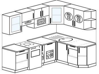 Угловая кухня 5,5 м² (2,2✕1,6 м), верхние модули 72 см, посудомоечная машина, модуль под свч, отдельно стоящая плита