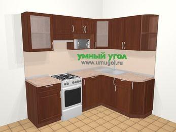 Угловая кухня МДФ матовый в классическом стиле 5,5 м², 220 на 160 см, Вишня темная, верхние модули 72 см, посудомоечная машина, модуль под свч, отдельно стоящая плита